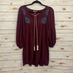 UMGEE Burgundy Boho Tassel Tie Tunic Dress…